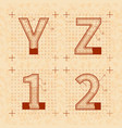 medieval inventor sketches of y z 1 2 letters vector image