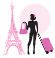young woman with suitcase in Paris vector image