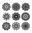black and white circle lace pattern collection vector image