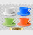 colored ceramic cups for tea on a transparent vector image