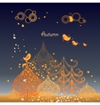 Autumn background with leaves birds and trees vector image vector image