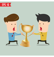 Cartoon business man snatching winner cup - vector image vector image