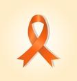 Orange awareness ribbon on orange glow background vector image vector image