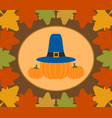 autumn thanksgiving day background with pumpkin vector image