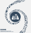 Buildings icon in the center Around the many vector image