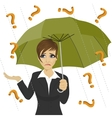 businesswoman under question marks with umbrella vector image
