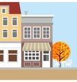 Cute background with old town houses Autumn vector image