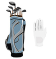 Golf clubs bag and white glove vector image