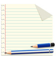 line paper template with two pencils vector image