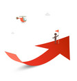 Man with flag on red arrow with helicoptere vector image