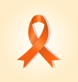 Orange awareness ribbon on orange glow background vector image