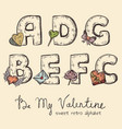 retro valentine alphabet - a b c d e f g vector image