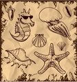 Sea animals collection on vintage background vector image