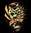 Skull Roses and Ribbon vector image