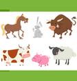 cute farm animals cartoon set vector image vector image