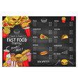 price menu template for fast food meals vector image