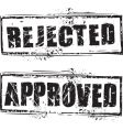 rejected and approved stamps vector image vector image