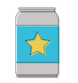 beer can with star emblem in watercolor silhouette vector image