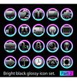 black glossy icon set 2 vector image