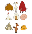 Domestic cartoon animals vector image