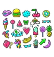 Girls fun applique patches cool doodles vector image