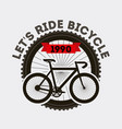 lets ride bicycle sport transport retro banner vector image