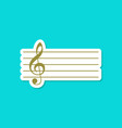 paper sticker on stylish background treble clef vector image