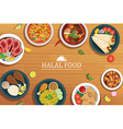 halal food on a wooden background halal food vector image
