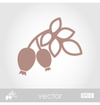 Rosehip branch with red berries outline icon vector image