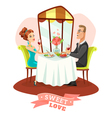 Couple Having Romantic Dinner In Restaurant vector image