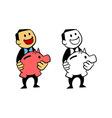 Happy Businessman Hold Piggy Bank vector image