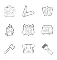 Rest on nature icons set outline style vector image