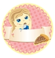 label with little girl vector image