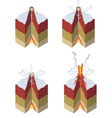 Stages of a volcano vector image
