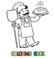 Coloring book of funny cook or baker with bread vector image
