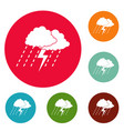 cloud thunder icons circle set vector image
