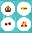 flat cake set of sweetmeat cake cupcake and vector image