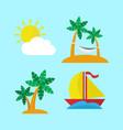island escape icon set vector image