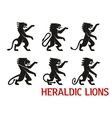 Medieval heraldic lions with raised forepaws vector image