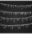 hand drawn doodle bunting flags set vector image