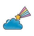 Beautiful fantasy cloud with shooting star vector image