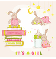 Baby Bunny Set - for Baby Shower or Arrival Card vector image vector image