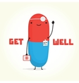 Get well with Doctor Pill card vector image