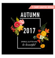 autumn t-shirt floral design with maple leaves vector image