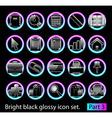 black glossy icon set 3 vector image