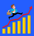businessman runs on a growing graph vector image