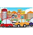 Children crossing road at daytime vector image