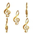 Golden treble clef in different projections vector image