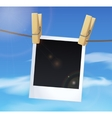 Photoframe on blue sky background white clouds vector image