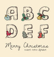 retro christmas alphabet vector image